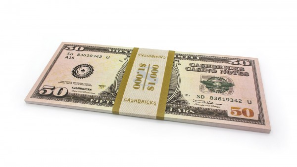 Cashbricks® Play money dollar bunches - 50$ banknotes