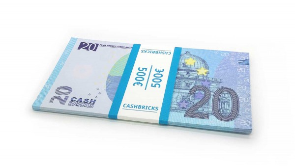 Cashbricks® Play money euro bunches - 20€ banknotes
