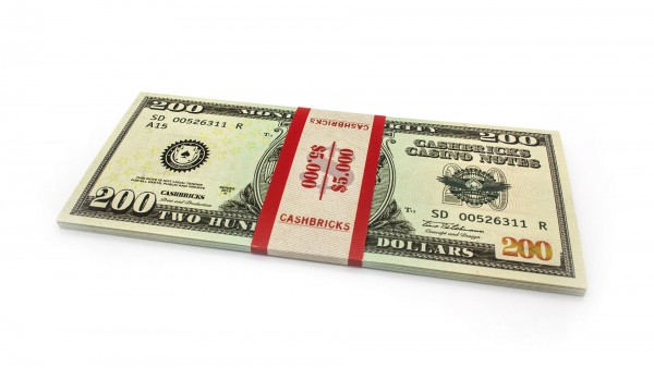 Cashbricks® Play money dollar bunches - 200$ banknotes