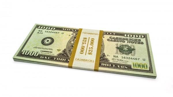 Cashbricks® Play money dollar bunches - 1,000$ banknotes