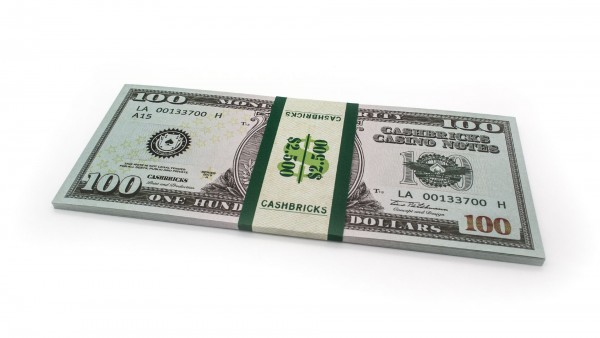 Cashbricks® Play money dollar bunches - 100$ banknotes