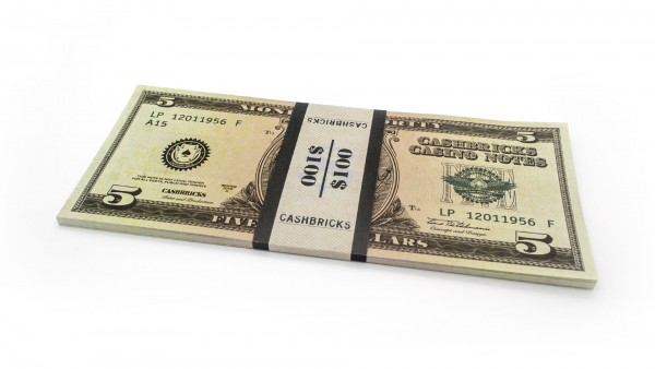 Cashbricks® Play money dollar bunches - 5$ banknotes