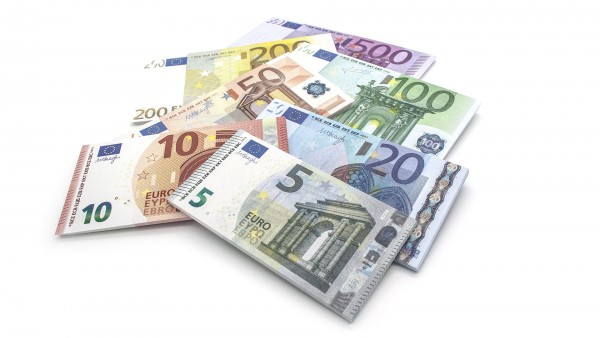 Cashbricks® play money - euro set banknotes (125% size)