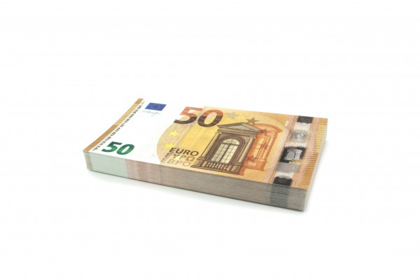 Cashbricks® play money - €50 banknotes (75% size)