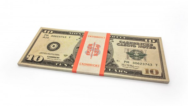 Cashbricks® Play money dollar bunches - 10$ banknotes