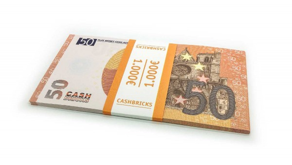 Cashbricks® Play money euro bunches - 50€ banknotes