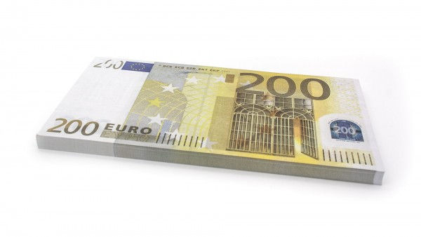 Cashbricks® play money - €200 banknotes (125% size)
