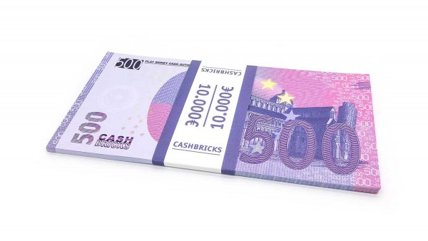 Cashbricks® Play money euro bunches - 500€ banknotes