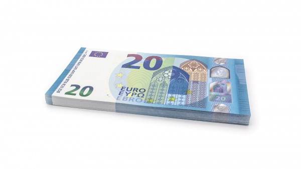 Cashbricks® play money - €20 (new 2015) banknotes (125% size)
