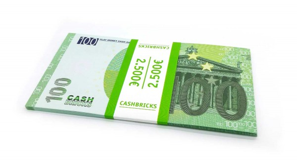 Cashbricks® Play money euro bunches - 100€ banknotes