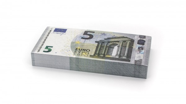 Cashbricks® play money - €5 banknotes (75% size)