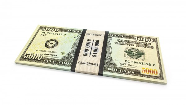 Cashbricks® Play money dollar bunches - 5,000$ banknotes