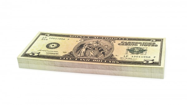 Cashbricks® play money - $5 banknotes