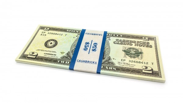 Cashbricks® Play money dollar bunches - 2$ banknotes