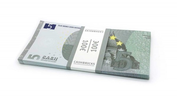 Cashbricks® Play money euro bunches - 5€ banknotes