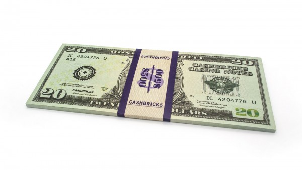 Cashbricks® Play money dollar bunches - 20$ banknotes