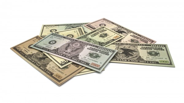 Cashbricks® play money - dollar set banknotes ($200 to 20.000)